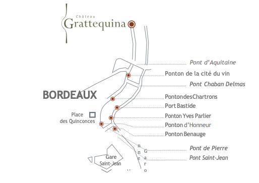 Plan de navigation en bateau du Château à Bordeaux