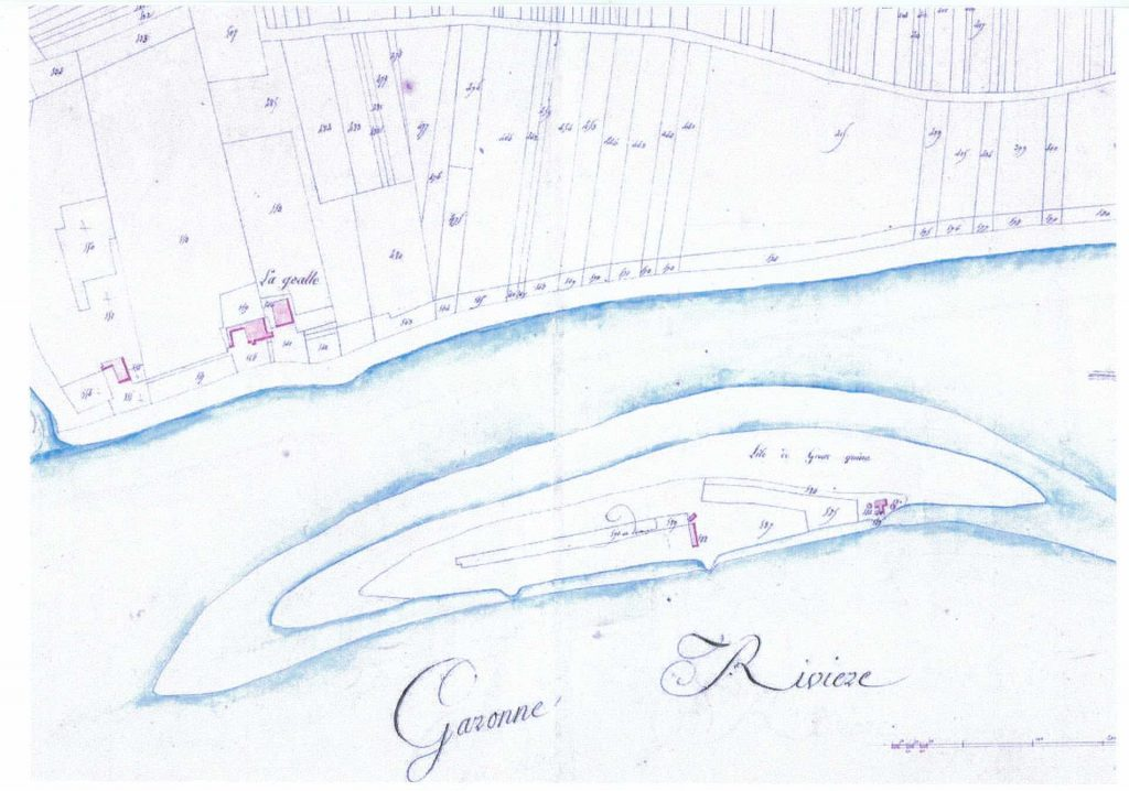 Plan de l'île de Grattequina à Blanquefort