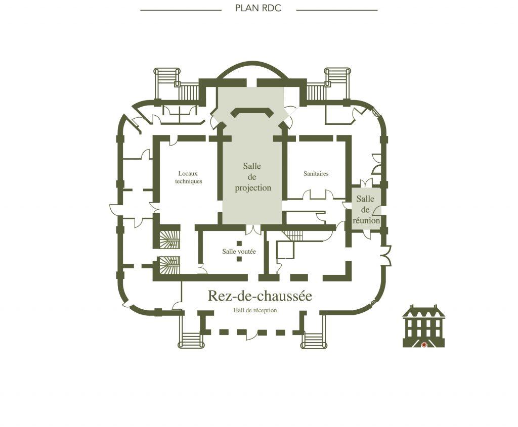 Plan des salles de réception en rez-de-chaussée du château