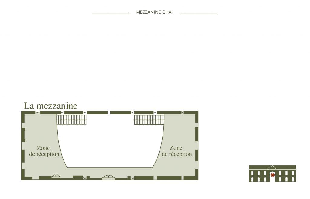 Plan des zones de réception de la mezzanine du château