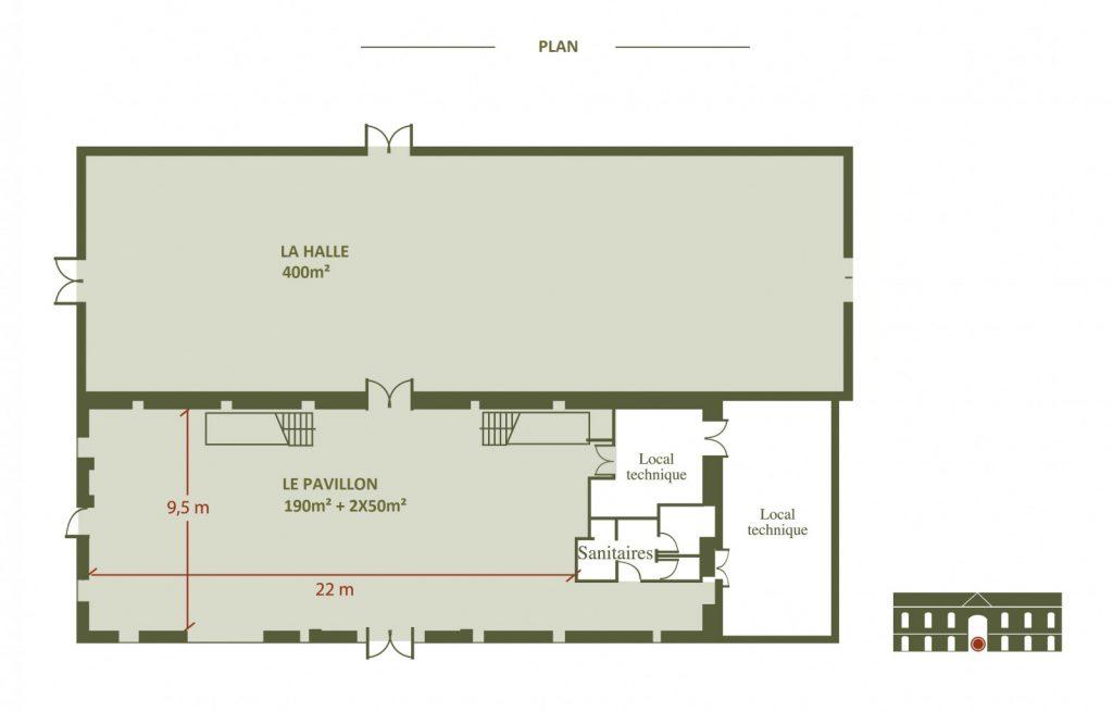 Plan du pavillon du château pour location événementiel