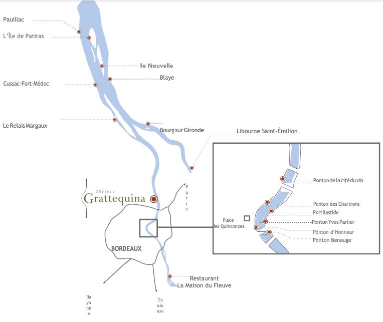 Plan de navigation en bateau sur la Garonne en Gironde