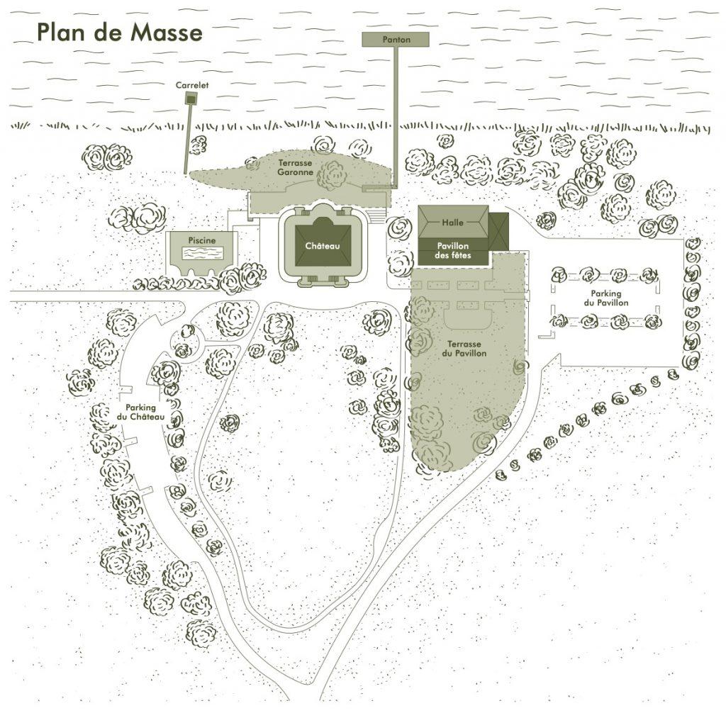 Plan général des salles et espaces en location au Château